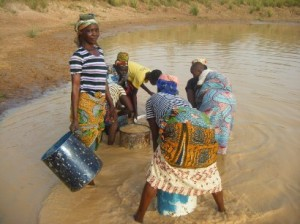 Ladies collecting water